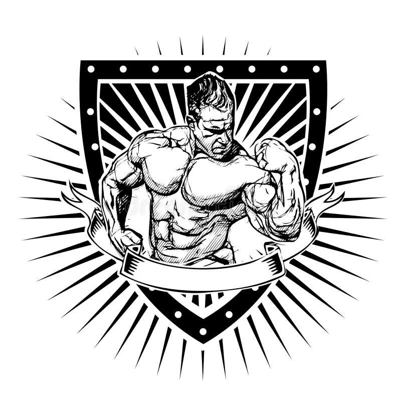 Bodybuilding osłona ilustracja wektor