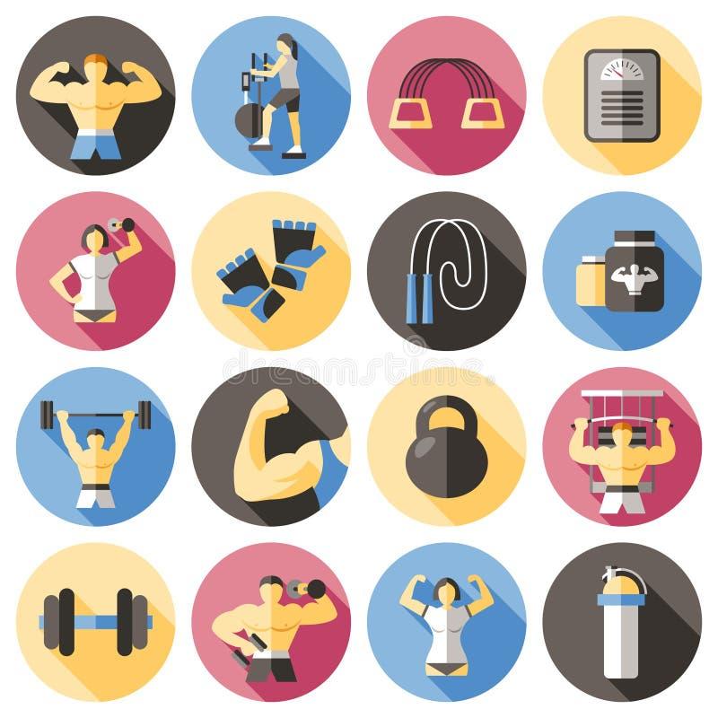 Bodybuilding Płaskie ikony Ustawiać ilustracji