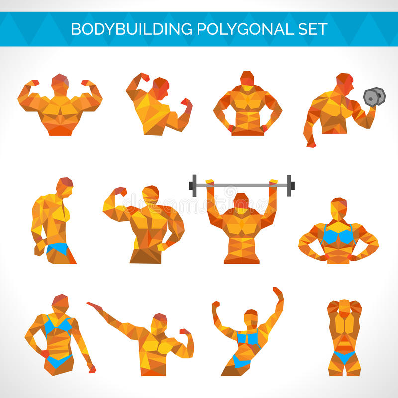 Bodybuilding Poligonalne ikony Ustawiać ilustracji