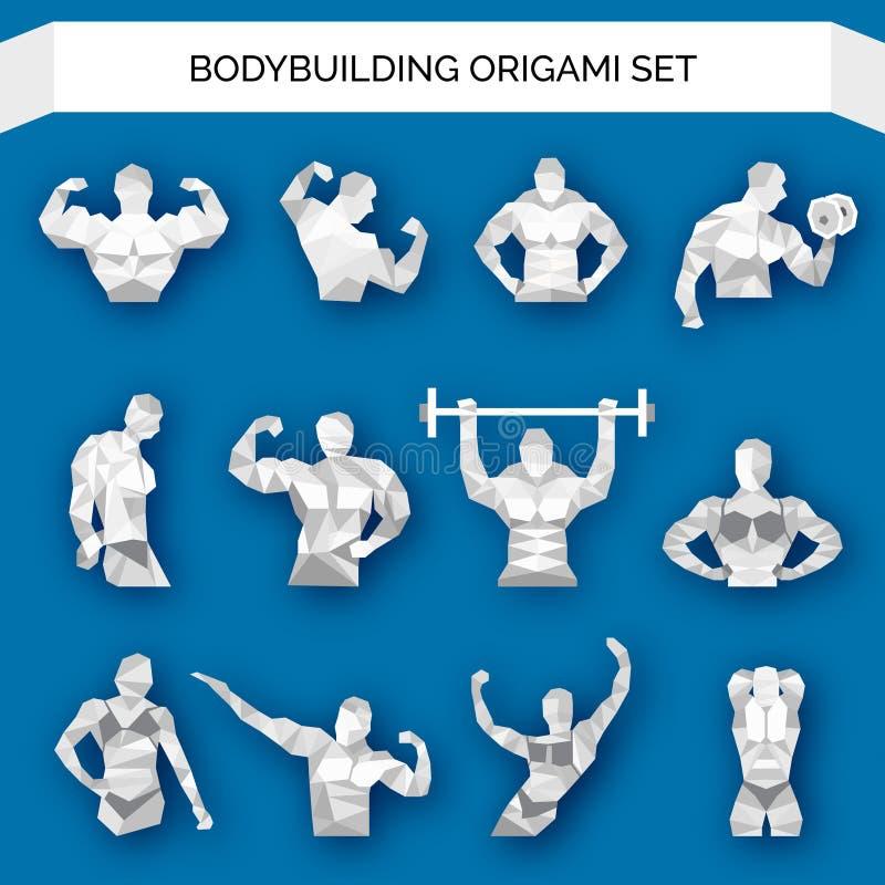 Bodybuilding Poligonalny biel ilustracja wektor