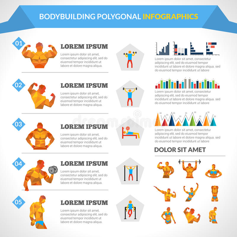 Bodybuilding Polygonal Infographics vektor illustrationer