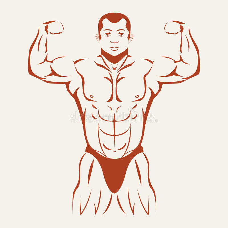Bodybuilding and powerlifting. Bodybuilder showing royalty free illustration
