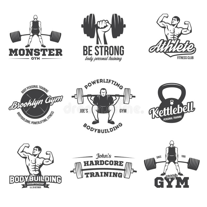 Bodybuilding, powerlifting, kettlebell, treningów logotypy podpisuje symbole Sprawność fizyczna logów emblematów projekta element ilustracja wektor