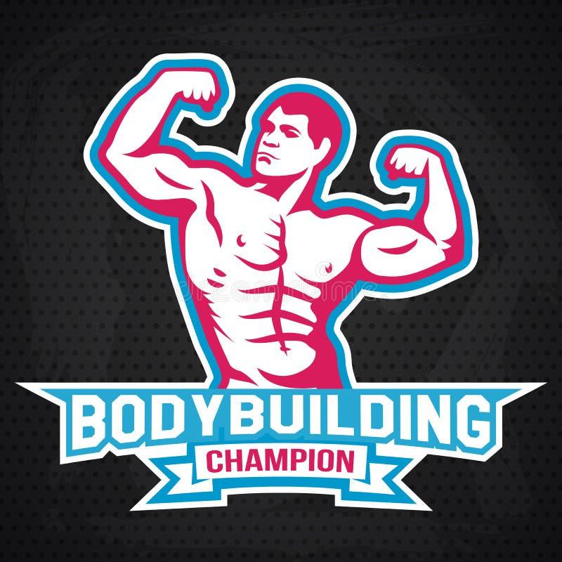 Bodybuilding, powerlifting, kettlebell, treningu logotypu znaka symbol Sprawność fizyczna loga emblemata projekta elementy kultur royalty ilustracja