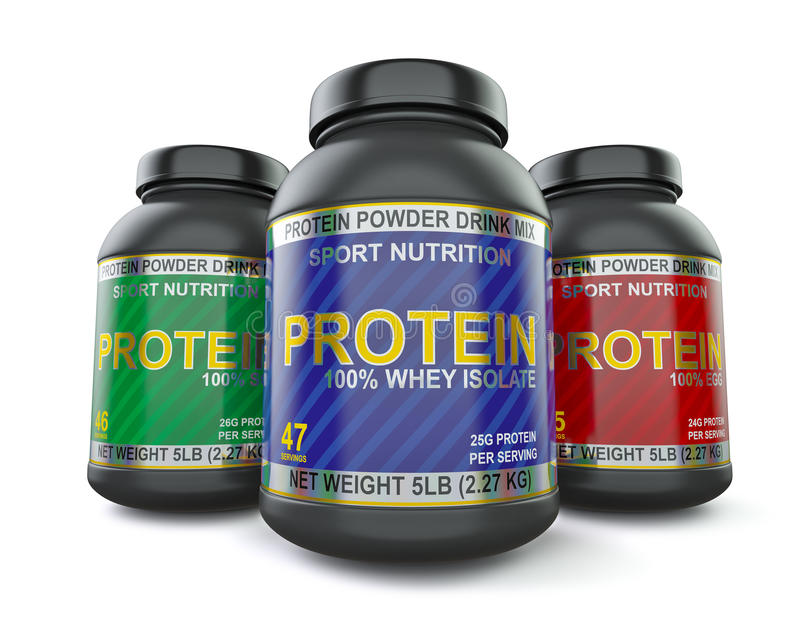 Bodybuilding protein supplements isolated on white royalty free illustration