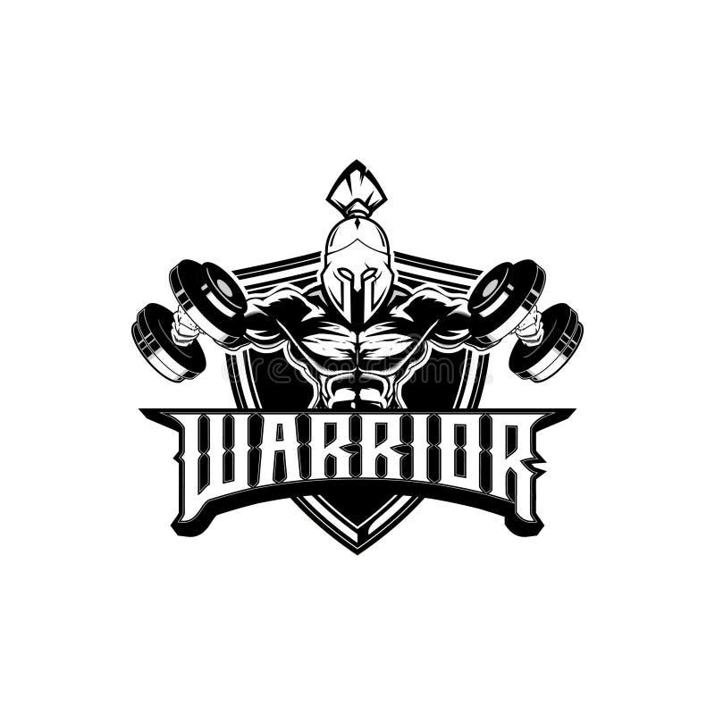 Bodybuilding spartiate de guerrier étonnant et unique avec le calibre de logo d'insigne de vecteur d'haltère illustration de vecteur