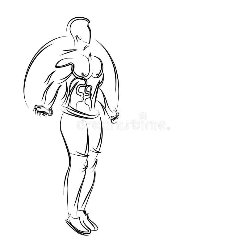 Bodybuilding sporta i aktywności atleta omija linowego kreskowej sztuki rysunek ilustracja wektor