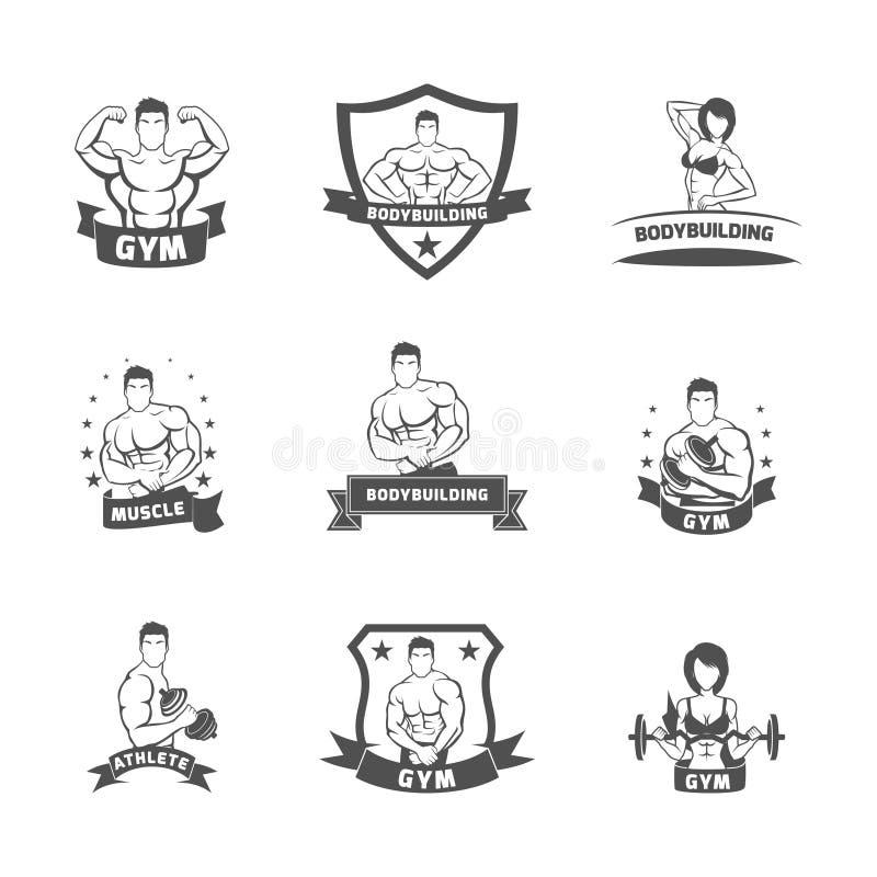 Bodybuilding sprawności fizycznej gym etykietki czerń ilustracja wektor