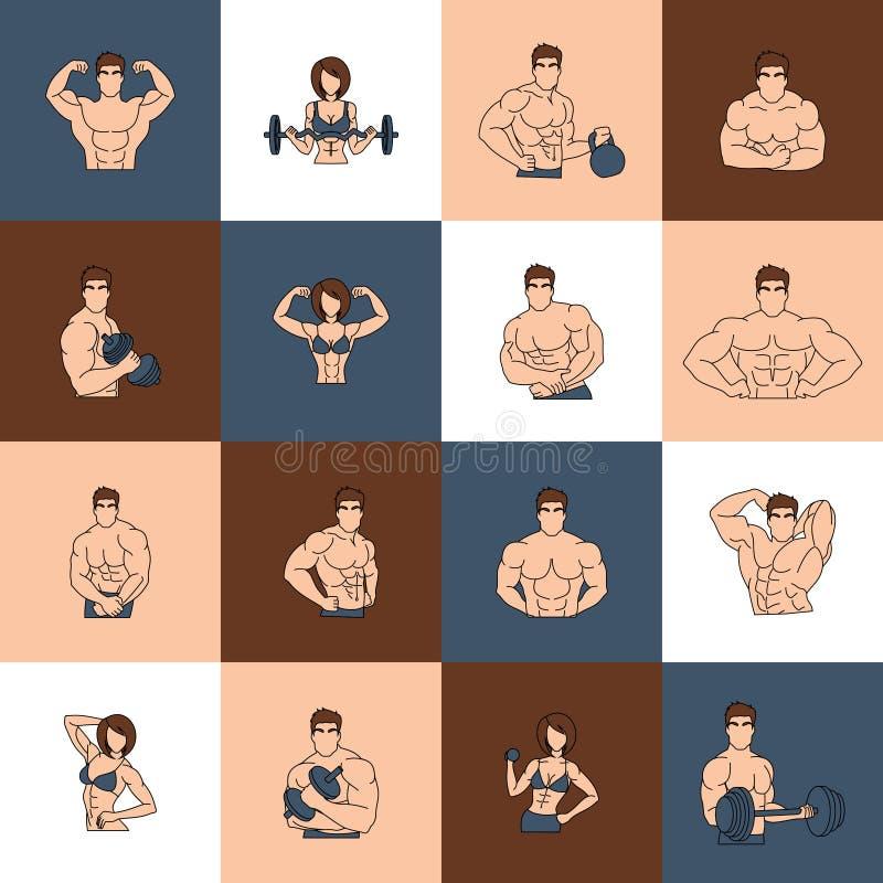 Bodybuilding sprawności fizycznej gym ikon mieszkania linia royalty ilustracja