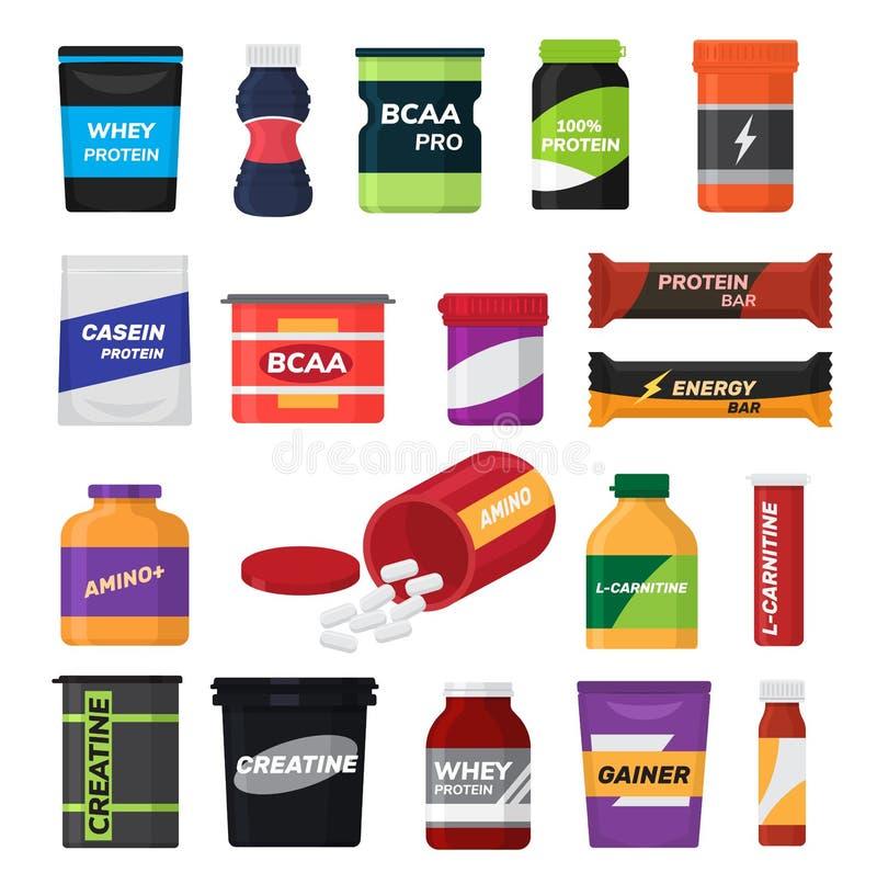 Bodybuilding sprawności fizycznej odżywiania sporta odżywczy nadprogram z proteiną dla bodybuilders ilustracji ustawia odosobnion ilustracja wektor