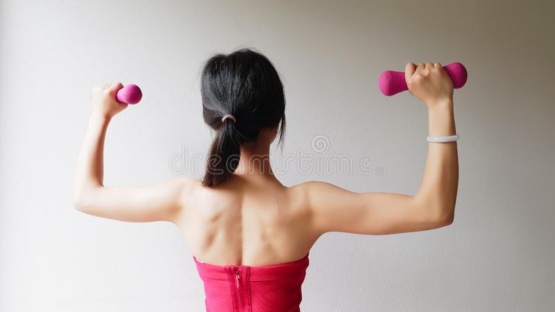 Bodybuilding. Strong fit woman exercising with dumbbells. Muscular Asian girl in pink sexy sportswear lifting weights stock photos