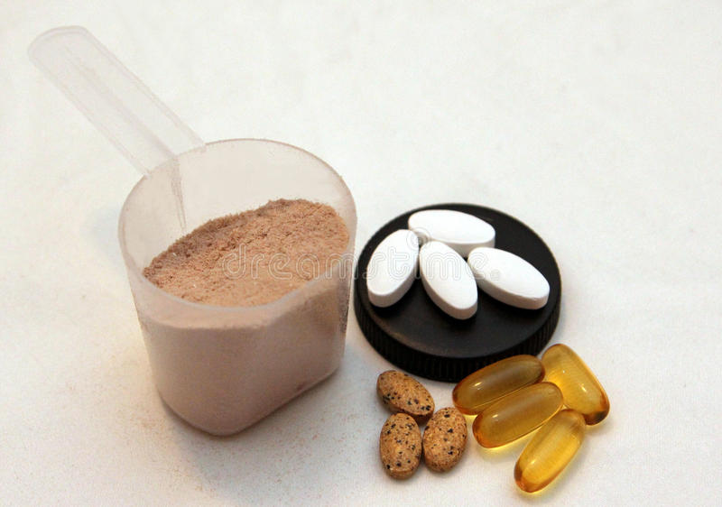 Bodybuilding supplements royalty free stock photography
