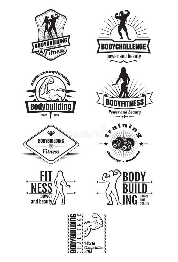 Bodybuilding- und Eignungsembleme lizenzfreie abbildung