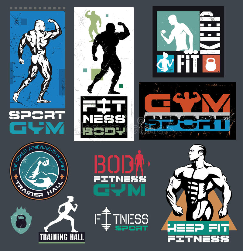 Bodybuilding- und Eignungsturnhallenlogos, Embleme stock abbildung