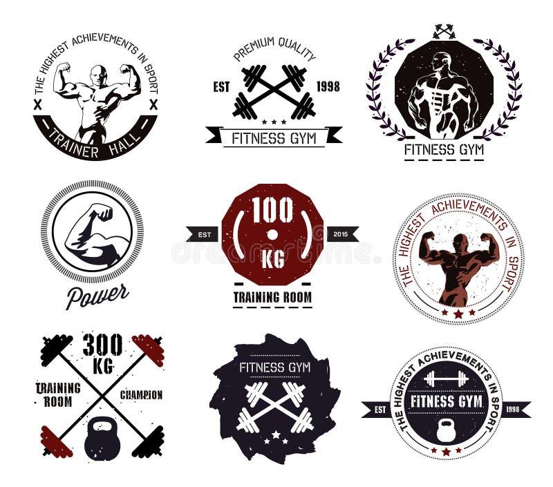 Bodybuilding- und Eignungsturnhallenlogos und -embleme vektor abbildung
