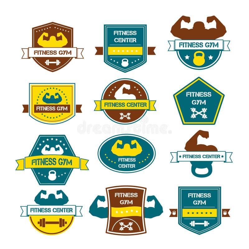 Bodybuilding- und Eignungsturnhallenlogos und Embleme im Stil t stock abbildung
