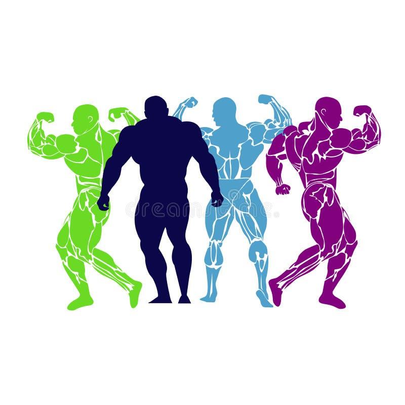 Bodybuilding, władza udźwig, ikona, wektor, mieszkanie royalty ilustracja