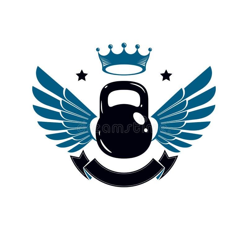 Bodybuilding weightlifting gym logotypu sport, retro stylowy wektorowy emblemat z skrzydłami Z kettlebell ilustracji