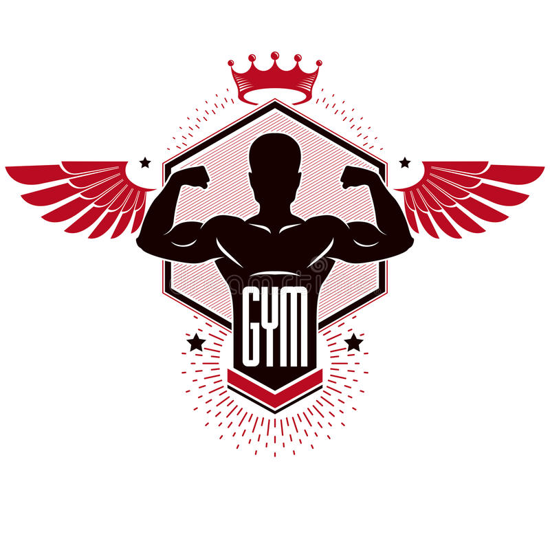 Bodybuilding weightlifting gym logotypu sporta klub, retro styliz royalty ilustracja