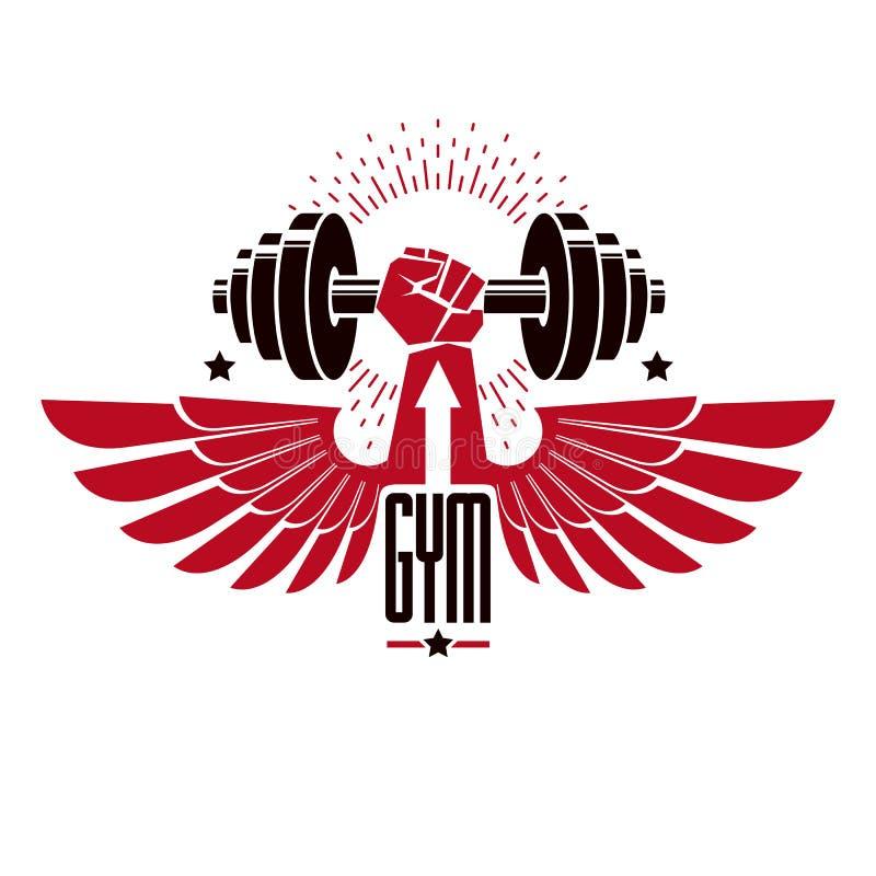 Bodybuilding weightlifting gym logotypu sporta klub, retro stylizowany wektorowy emblemat lub odznaka z skrzyd?ami, Z barbell i s ilustracji