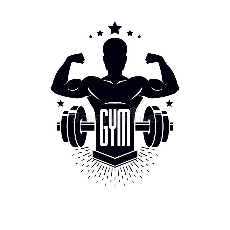 Bodybuilding weightlifting gym sporta szablon, retro stylizowany wektorowy emblemat lub odznaka, Z bodybuilder sylwetk? royalty ilustracja