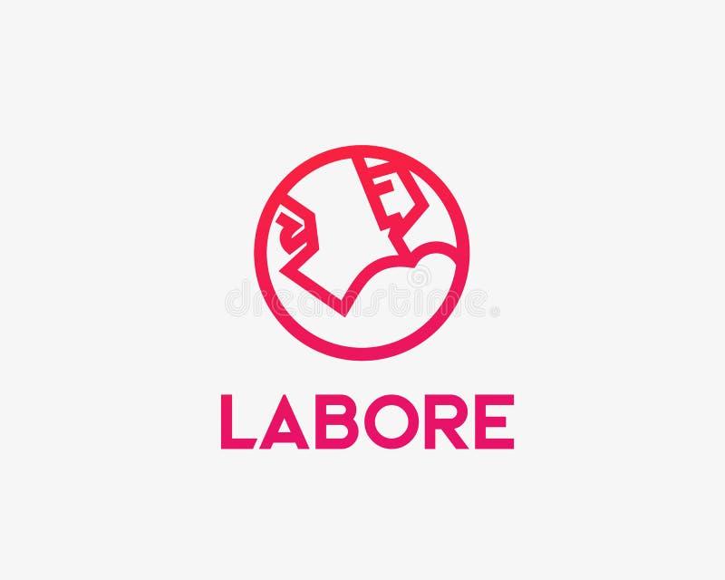 Bodybuilding wektoru logotyp Sport sprawności fizycznej gym linii loga projekt Trening ikony szyldowy symbol royalty ilustracja