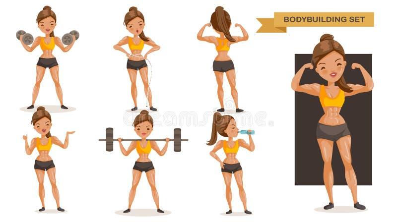 Bodybuilding woman stock illustration