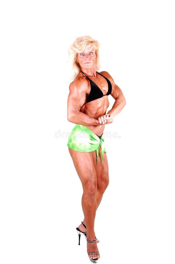 Bodybuildingfrau. stockfoto
