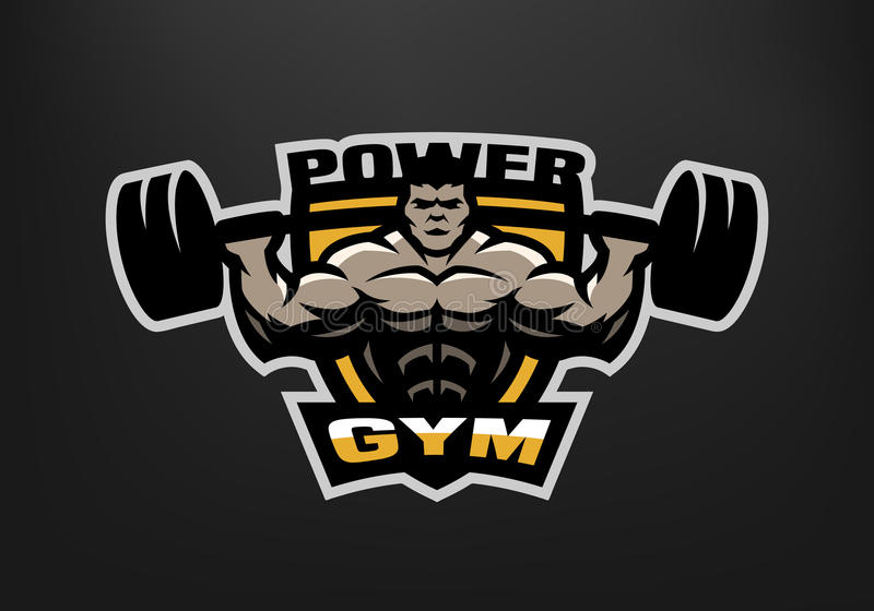 Bodybuildingidrottshalllogo, emblem stock illustrationer