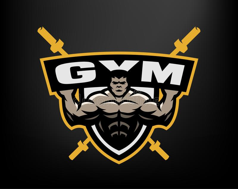 Bodybuildingidrottshalllogo, emblem royaltyfri illustrationer