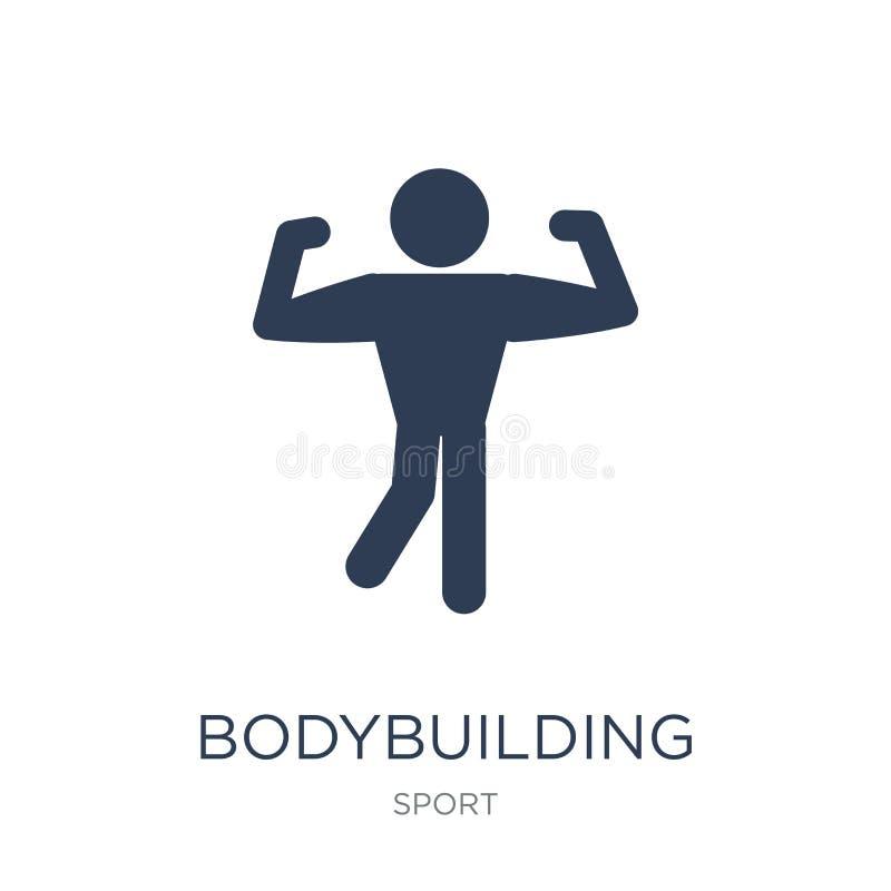 Bodybuildingikone Bodybuildende Ikone des modischen flachen Vektors auf Weiß vektor abbildung