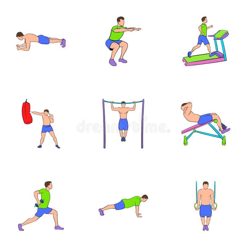 Bodybuildingikonen eingestellt, Karikaturart lizenzfreie abbildung