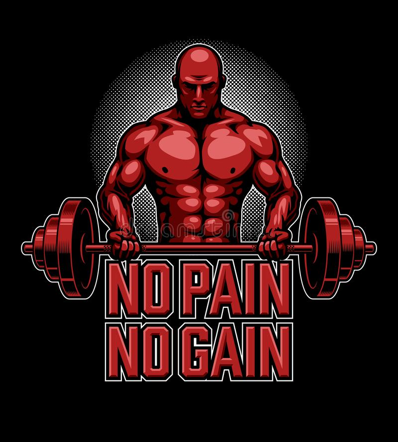 Bodybuildingplakat im Rot stock abbildung