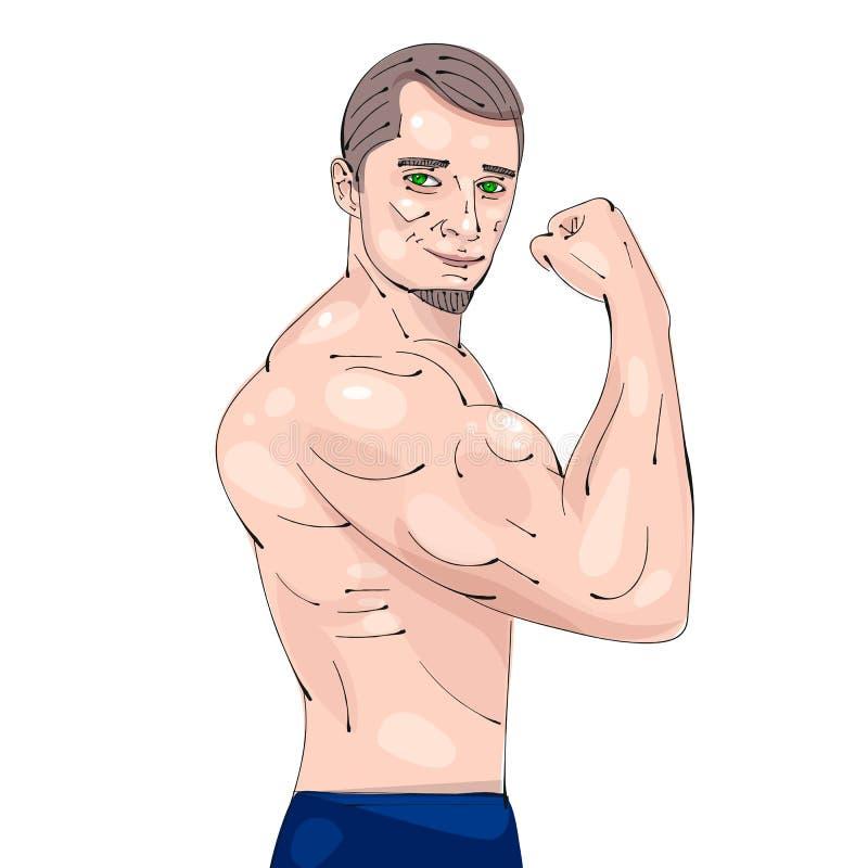 Bodybuildingsgeschiktheid Logo Centurion Bodybuilder Vector Illustration stock illustratie