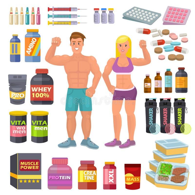 Bodybuildingsportlebensmittel-Vektorbodybuilder ergänzen proteine Energie und Eignungsdiätnahrung für bodybuilden Training lizenzfreie abbildung