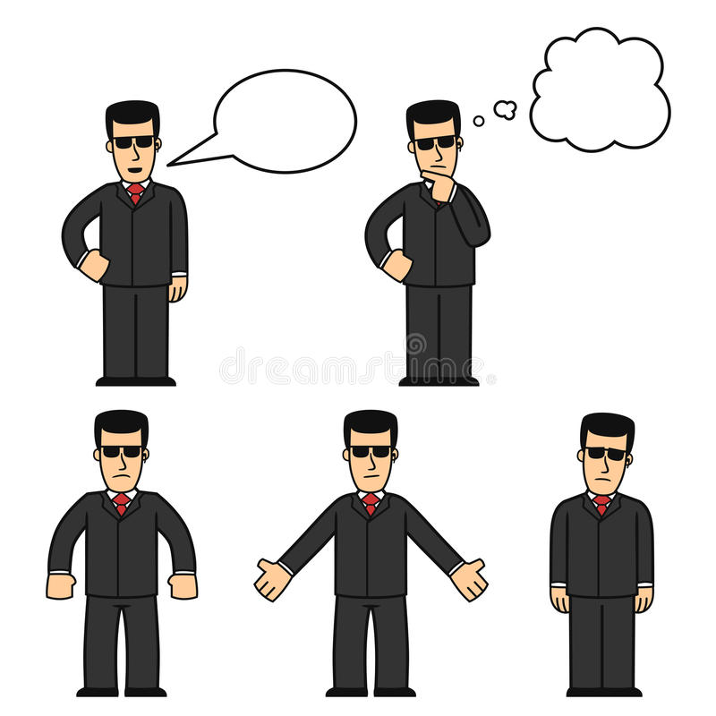 Download Bodyguard character set 01 stock vector. Image of danger - 16807234