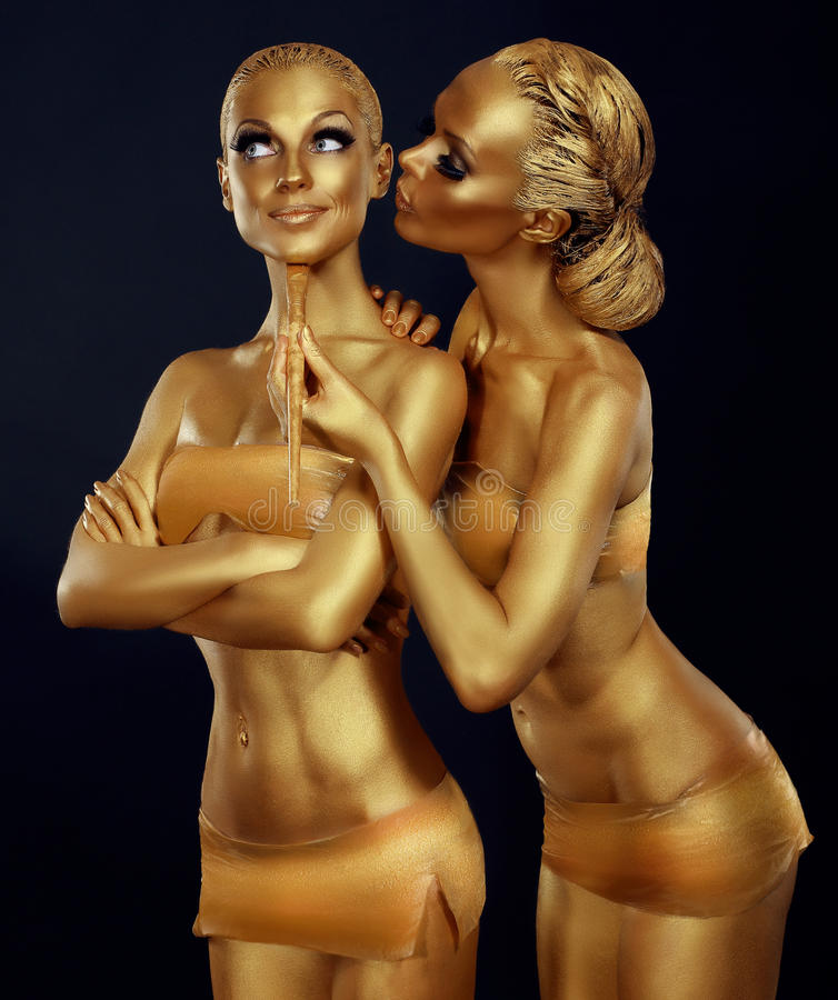 Bodypaint Δύο χρωματισμένος γυναίκες χρυσός Καρναβάλι στοκ εικόνα με δικαίωμα ελεύθερης χρήσης