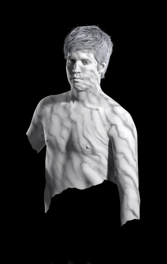 Bodypainted marble man stock photo
