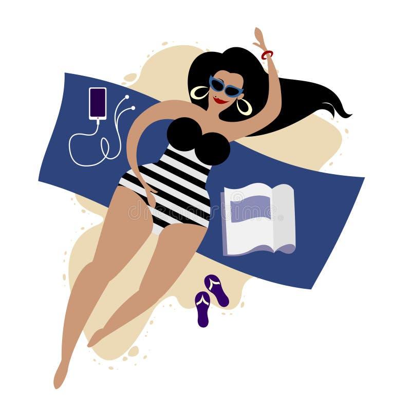 Bodypositive mais a menina bonito do tamanho em um roupa de banho listrado ilustração royalty free