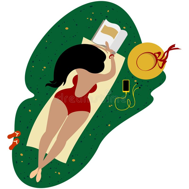 Bodypositive plus size cute girl in a striped swimsuit. Body-positive plus size cute girl in a red swimsuit with a phone and a magazine on the blanket takes stock illustration