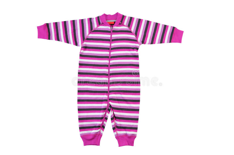 Bodysuit ребенка изолированный на белой предпосылке Romper Striped пинком стоковое изображение rf