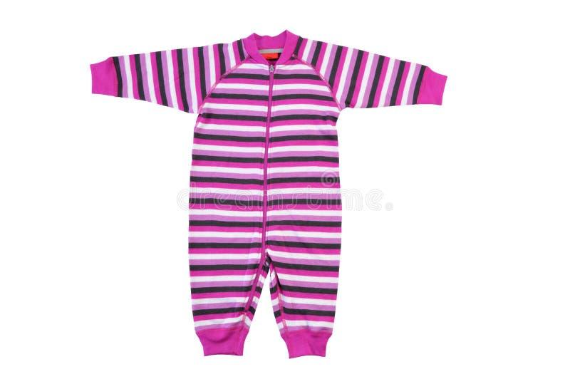 Bodysuit da criança isolado no fundo branco Romper listrado cor-de-rosa imagem de stock royalty free