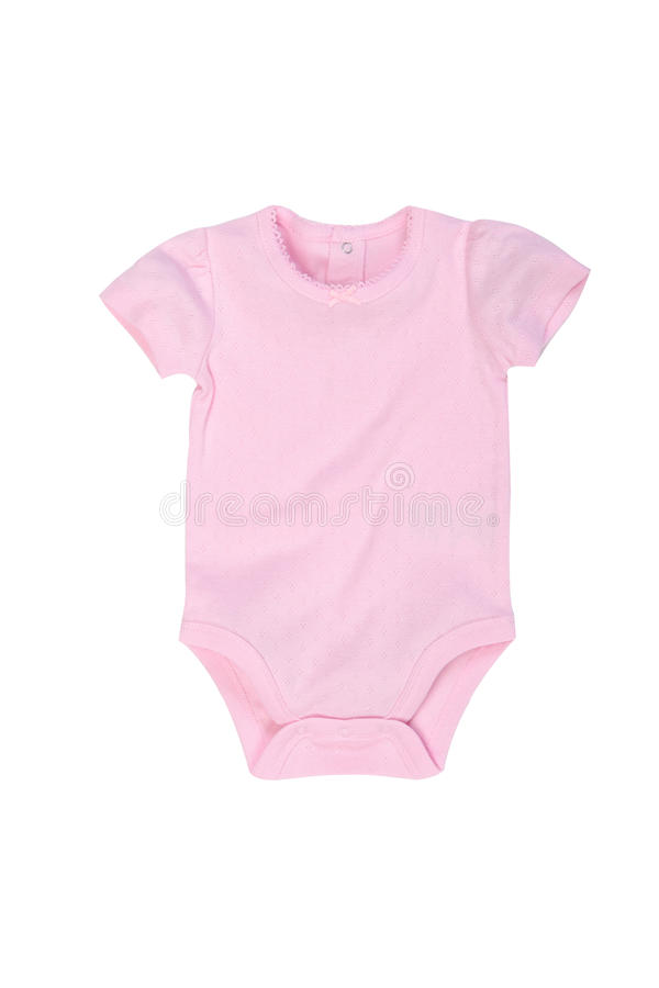 Bodysuit da curto-luva do bebê isolado no branco imagem de stock