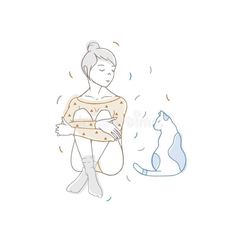 Bodysuit vestindo e peúgas da menina bonita que sentam-se com pés cruzados e que olham o gato Jovem mulher e seu animal de animal ilustração do vetor