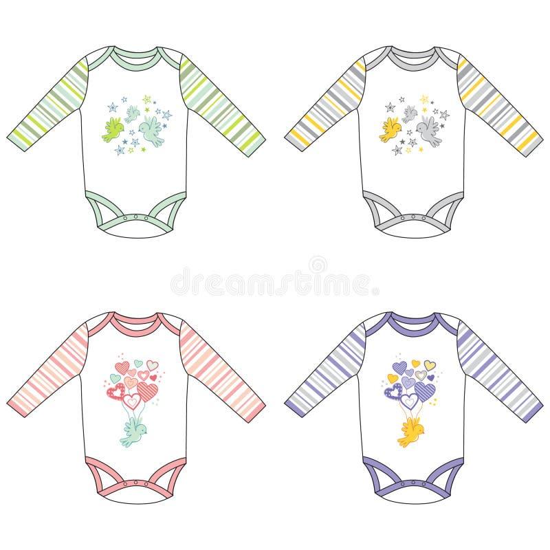 bodysuits младенца Длинн-рукава с милым дизайном иллюстрация вектора