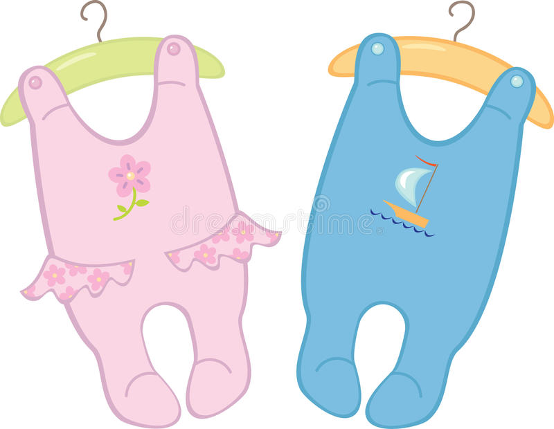 Bodysuits para gêmeos dos bebês ilustração do vetor