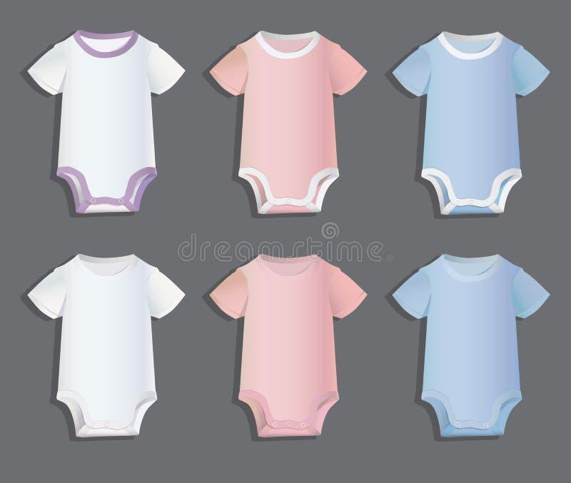 Bodysuits para testes padrões das crianças ilustração royalty free