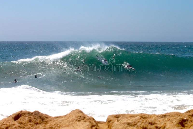 Bodysurfers al cuneo fotografie stock