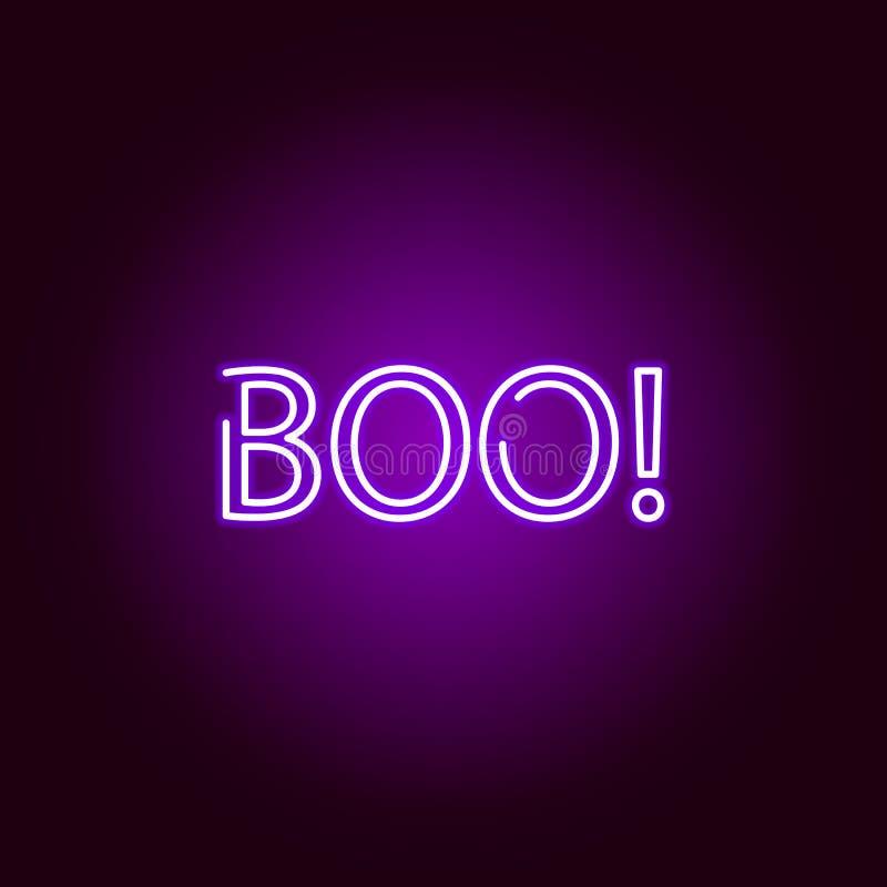BOE-GEROEPpictogram in neonstijl Element van Halloween-illustratie Tekens en symboleninzamelingspictogram voor websites, Webontwe royalty-vrije illustratie