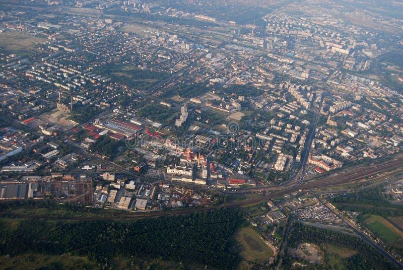 Boedapest door vliegtuig stock fotografie